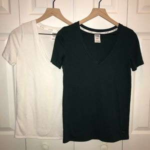 Pink VS Perfect V-Neck Lot Two Tees Green & White